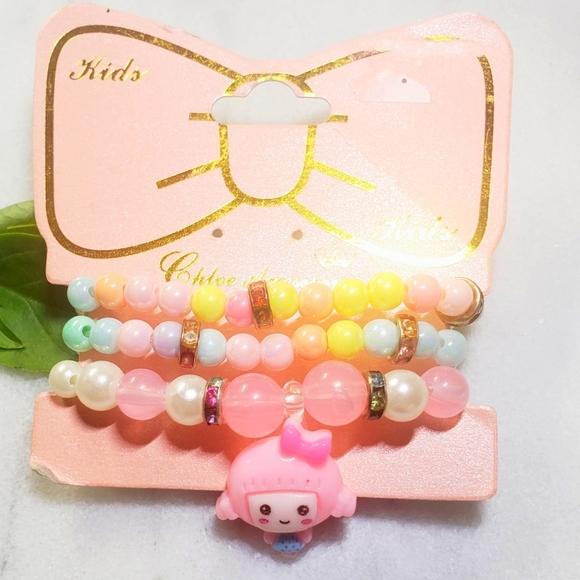 #1295 New Girls Korean Bracelet Beaded Pink Set